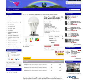Referenz Online-Shop Prestashop Led Handel Schweiz
